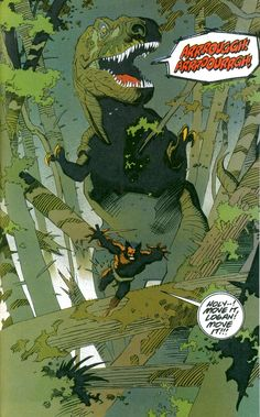 Wolverine being chased by a dinosaur. One of my favorite old school comics. Art by Mike Mignola.