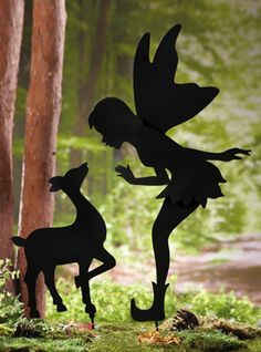 Fairy and Deer Friend Shadow Garden Stakes