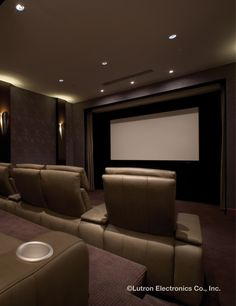 Relax and enjoy home entertainment with a Lutron light control system to create the perfect setting. Home Automation System, Smart Home Automation, Entertainment Center Makeover, Entertainment Room, Lighting Control System, Home Theater, Theater Rooms, Cinema Room, Home Cinemas