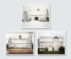 NEW YORK BARNS through the SEASONS A perfectly curated set of beautiful old white barns in summer, autumn and winter. Peaceful and serene farmhouse decor in neutral tones perfect for any space: living room, hallway, kitchen, bedroom. All were photographed in various locations in the countryside of Upstate New York. $ Price reflects a 15% discount off prints and 10% off canvas. ☞ Select PHOTOS, MATTED PHOTOS or CANVAS & Size from drop-down list. ✚ Size is for each individual piece (2-6), n...