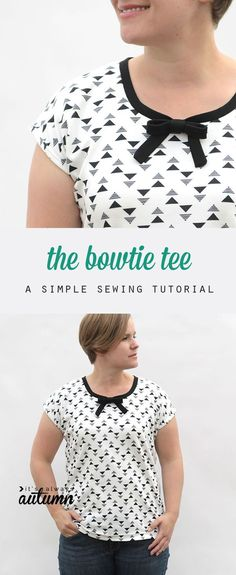 free sewing pattern and tutorial for this easy bowtie tee in women's size L. Great minds think alike! She published the basic version of this in I started making my dolls Ezy T's back in Love this little necktie! Diy Clothes Patterns, Sewing Patterns Free, Free Sewing, Fabric Patterns, Easy Sewing Projects, Sewing Tutorials, Sewing Blouses, Make Your Own Clothes, Diy Clothing