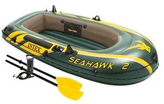 Intex Seahawk Inflatable Boat Set with French Oars and High Output Air Pump : Open Water Inflatable Rafts : Sports & Outdoors Schwimmendes Boot, Best Inflatable Boat, Floating Boat, Boat Seats, Trolling Motor, Dinghy, Open Water, Rowing, Water Crafts