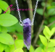 Fashion Jewelry Hexagonal Column Necklace Natural Stone Amethyst Pendant Necklace Fine Jewelry Quartz Crystal Necklaces