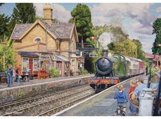 'Hampton Loade station' A greeting card by Trevor Mitchell Heritage Train, Heritage Railway, Ravensburger Puzzle, Severn Valley, Uk Rail, Steam Railway, Train Art, London Bus, Puzzle Art