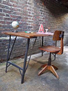 Vintage Old Industrial Oak Office Desk Table Swivel Chair