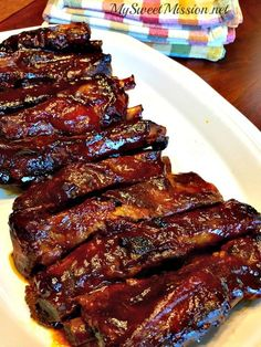 Our delicious Easy Slow Cooker BBQ Ribs are made with only two ingredients they fall right off the bones and will literally melt in your mouth! - Slow Cooker - Ideas of Slow Cooker Rib Recipes, Healthy Recipes, Grilling Recipes, Cooker Recipes, Rack Of Ribs Recipes, Dinner Recipes, Easy Recipes, Slow Cooker Bbq Ribs, Gourmet