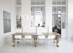 *white *antique wood table *windows