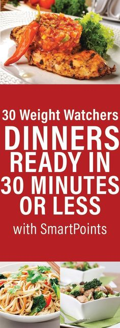 30 Weight Watchers Dinners Ready in 30 Minutes or Less with Smart Points Ww Recipes, Dinner Recipes, Cooking Recipes, Healthy Recipes, Skinnytaste Recipes, Atkins Recipes, Skinny Recipes, Diabetic Recipes, Get Skinny