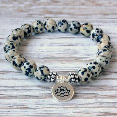 Gemstone Dalmatian Jasper Beaded Friendship | Stacking Bracelet Elastic