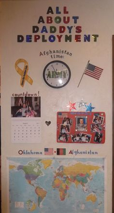 """Make a deployment wall for the kids! Helps them feel so much closer to Daddy while he is away!""  Love this idea! - MilitaryAvenue.com"