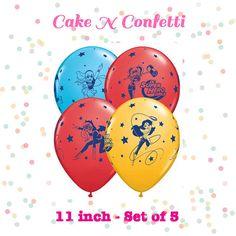 DC Super Hero Girls 11 Latex Balloons  SET of 6  by CakeNConfetti
