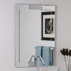 Decor Wonderland�31-1/2-in H x 23-5/8-in W Francisco Rectangular Frameless Bathroom Mirror with Decorative Edges