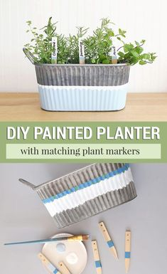 Learn how to make a DIY painted galvanized metal planter for a gardening gift basket with matching painted plant markers. Learn how to make a DIY painted galvanized metal planter for a gardening gift basket with matching painted plant markers. Painting Galvanized Metal, Galvanized Planters, Metal Planters, Diy Planters, Plant Markers, Garden Markers, Diy Craft Projects, Diy Crafts, Metal Containers