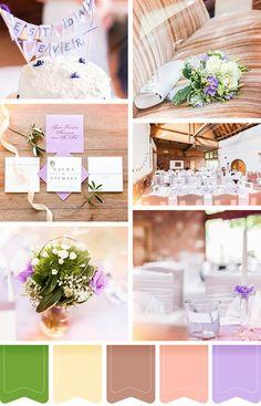 Die beliebtesten Farben für die Hochzeit Lila und Grün auf einem Moodboard. Wir lieben diese tolle Inspiration.