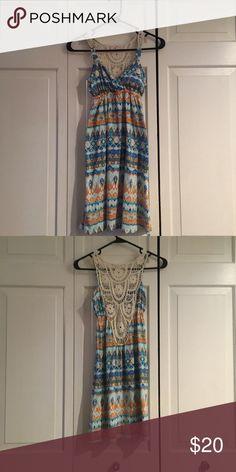 Kohls Tribal Print Dress Blue tribal print dress with a crochet back design. Sleeveless dress. kohls Dresses