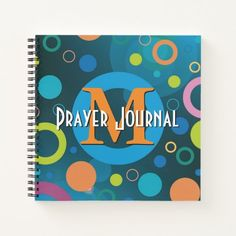 Colorful Spots Rings Monogram Personalized BLUE Notebook   teachers first day of school, first day of school inspiration, first day of school projects #backtoschoolmonday #backtoschool2021 #BackToSchoolEssentials, back to school, aesthetic wallpaper, y2k fashion
