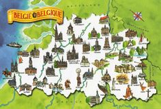 Carte illustrée de la Belgique (avec Mons et son petit singe)