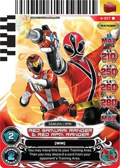 Red Samurai  and Red RPM Power Ranger trading card