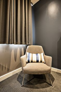 Hotel interior design - one of the hotel refurbishment projects completed for TROY group. Refurbishment, Bedroom Chair, Design Hotel, New Room, Troy, Ottoman, Interior Design, Projects, Furniture