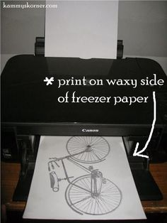 Kammy's Korner: Bicycle Bench {Freezer Paper Transfer} Transfer an image the easy way on to wood or fabric!