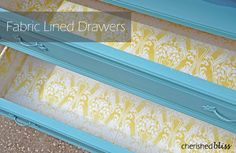 Fabric Lined Drawers w Mod Podge
