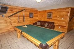 Game room located in Pigeon Forge cabin rentals Bear Britches Lodge