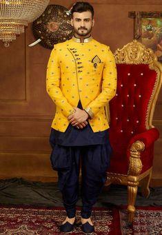 Buy Indo Western Embroidered Art Silk in Yellow Online Wedding Dresses Men Indian, Wedding Dress Men, Wedding Wear, Wedding Suits, Wedding Groom, Indian Men Fashion, Mens Fashion Suits, Mens Suits, African Fashion