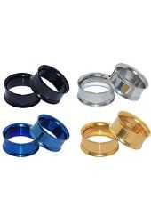 D&M Jewelry 4 Pairs Stainless Steel Screw Expander Flesh Tunnels Body…
