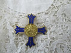 Enamel religious brooch by Nkempantiques on Etsy