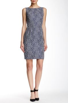 Tahari - Sleeveless Two-Tone Jacquard Sheath Dress at Nordstrom Rack. Free Shipping on orders over $100.