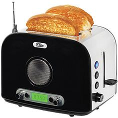 Multitasking 2-slice stainless-steel toaster features AM/FM radio with 10 programmable station presets, telescoping antenna, built-in AUX jack for connecting your own phone or digital music player, 6 browning levels, settings for bagels and defrosting, and slide-out crumb tray for easy cleaning. $59.97