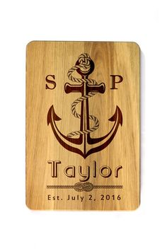 Wedding anchor Personalized Cutting Board Wedding gift Custom engraved cutting board Gifts for newlyweds Custom Gift for couple