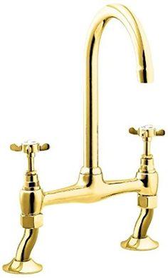 Deva CR305/501 BRIDGE Coronation Bridge Sink Mixer Tap with Gold Finish