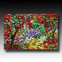 Oil Painting Tree ART Palette Knife Oil  Painting SECRET GARDEN