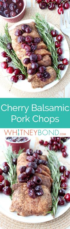 Tender, juicy, flavorful pork chops are roasted in the oven, or cooked in a sous vide, then finished off with a simple and delicious cherry balsamic sauce!