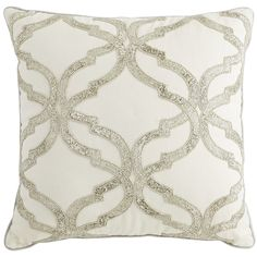 Silver Beaded Geometric Pillow - Ivory | Pier 1 Imports