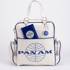 """Pan Am '70s Original White Vintage Travel Bag from Fab.com   ~  The chic travel handbags from Pan Am Airlines..the most successful airline during the peak of mass travel. Not only was the company voted the """"Worlds Most Experienced Airline"""" but Pan Am airlines was the real life inspiration behind the term """"Jet Age.""""  Their line of travel bags were given only to first class passengers and quickly became a status symbol carried only by the rich, the elite, often even famous Pan Am passengers."""