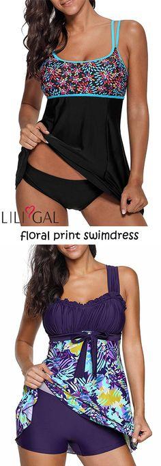 2018 Summer Trends: floral print swimdress  for women, features floral print, Strap, padded, swimdress and shorts.    #liligal #swimwear #swimsuit