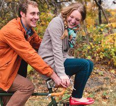 Fall engagement photoshoot on a bike!