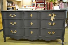 Paint in my hair Graphite on a French provencial dresser with gold drawer pulls. Furniture, Redo Furniture, Painted Furniture, Refinishing Furniture, Furniture Making, Chalk Paint Furniture, Furniture Inspiration, Home Diy, French Provincial Furniture