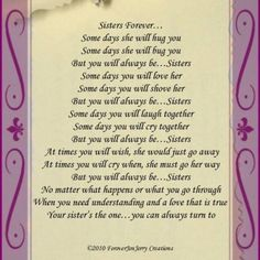 Thinking of You Sister Poems | Images for little sister big sister poems image search results