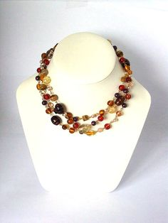 Brown Gold Amber Recycled Linked Multiuse Necklace  UK by Pookledo, £18.00