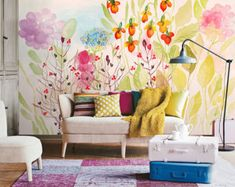 From Dreamywall: Watercolor Garden Fresh Spring Flower & Leaves Wallpaper Wall Mural Art Bedroom Wall Paper Pink Lilac Floral Green Yellow Ivory Mural Wall Art, Nursery Wall Art, Bedroom Wall, Girls Bedroom, Art Mural Floral, Floral Wall, Nursery Wallpaper, Wall Wallpaper, Leaves Wallpaper