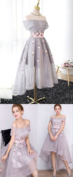 Gray chiffon strapless high low homecoming dress, gray party dress #dress