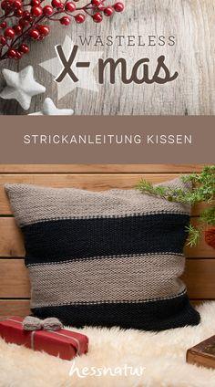 Exklusive Stricksets aus 100% Baby Alpaka - Anleitung für ein Kissen mit Blockstreifen #stricken #diy #kissen #alpaka #strickset Cushion, Drawing S
