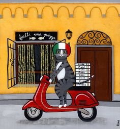 Pizza Delivery Italian Cat Original Folk Art Painting