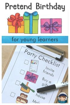 Pretend party printables to turn your dramatic play center into a birthday party. Great to do during Dr. Students will develop fine motor, math, literacy and social emotional skills all through imaginative play. All About Me Preschool, Preschool Writing, Free Preschool, Preschool Themes, Kindergarten Activities, Activities For Kids, Math Literacy, Daycare Themes, Preschool Boards