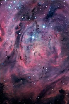 "The Lagoon Nebula, M8 or NGC 6523. As one of the showpiece objects of the summer sky in the northern hemisphere, the Lagoon never rises very high from most locations north of the equator. This image of the Lagoon was imaged from Cerro Tololo Inter-American Observatory in Chile. Twenty hours of data were collected over several nights with seeing usually around 0.5"" and occasionally as low as the mid 0.30"". Those who are familiar with other images of the Lagoon nebula may note that this…"