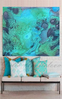 Turquoise Print, Aqua Wall Art, Abstract Painting, Tropical Water Art, Ocean…