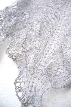 655b33735fb694 Silver knit shawl fall fashion shawl lace shawl by Sissta on Etsy